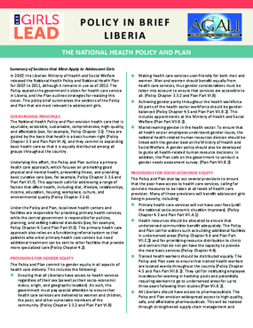 Liberia Health Policy & Plan