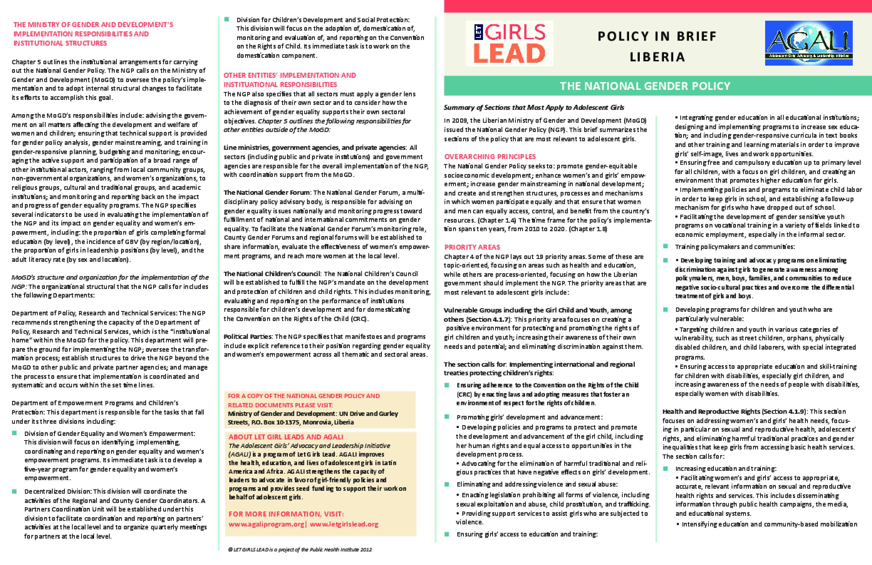 Liberia Gender Policy