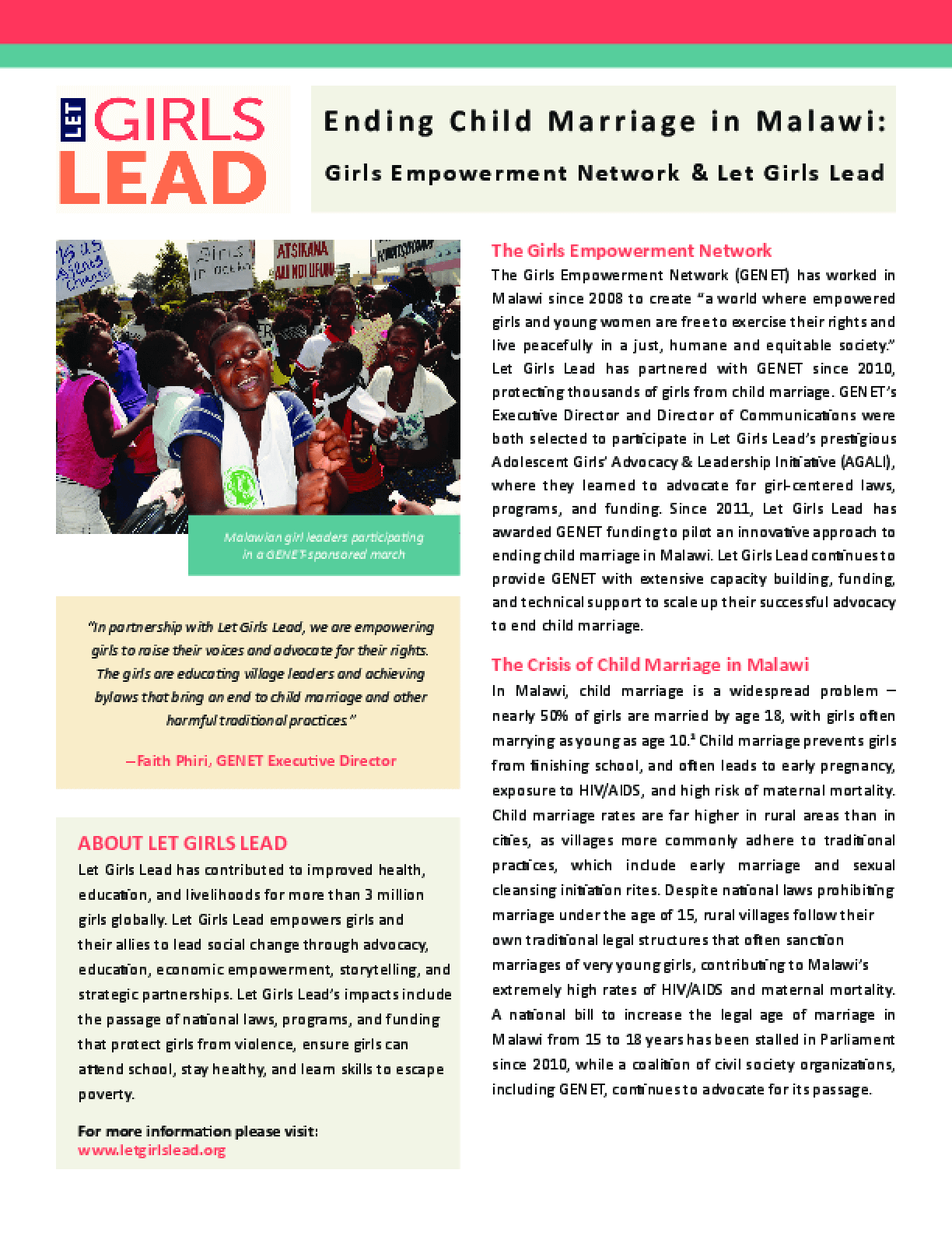 Ending Child Marriage in Malawi: Malawian Girl Leaders Participating