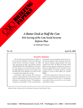 A Better Deal at Half the Cost: SSA Scoring of the Cato Social Security Reform Plan