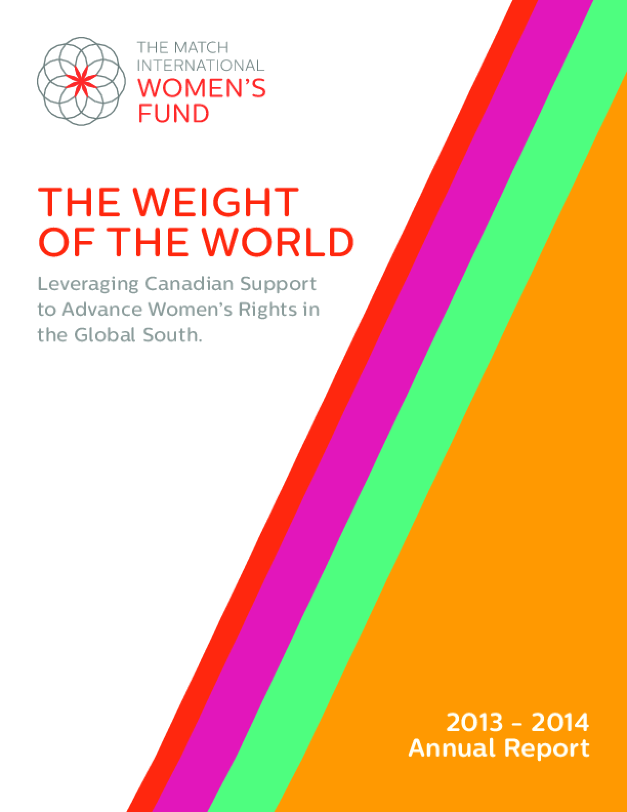 The Weight of the World: Leveraging Canadian Support to Advance Women's Rights in the Global South; 2013-2014 Annual Report