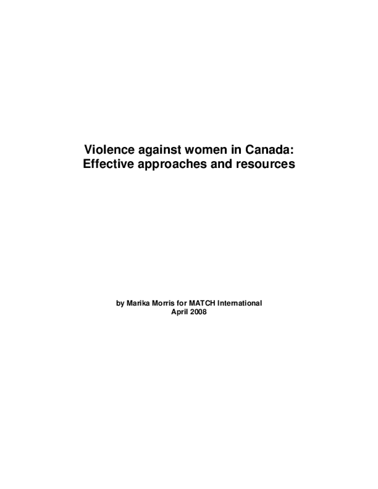 Violence Against Women and Canada: Effective Approaches and Resources