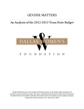 Gender Matters: An Analysis of the 2012-2013 Texas State Budget