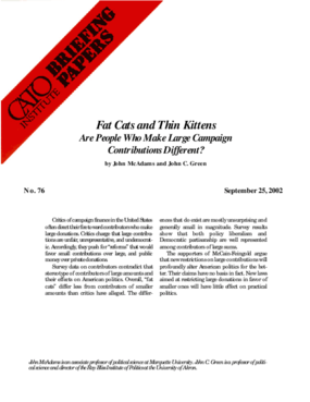 Fat Cats and Thin Kittens: Are People Who Make Large Campaign Contributions Different?