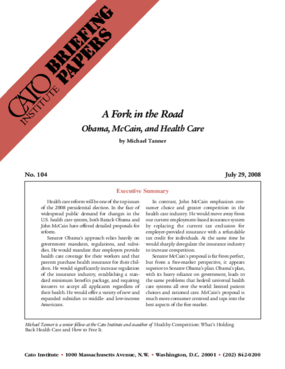 A Fork in the Road: Obama, McCain, and Health Care