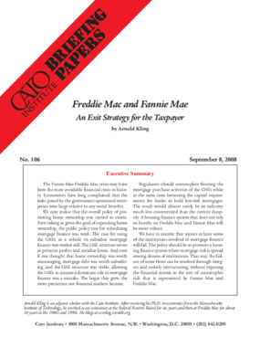 Freddie Mac and Fannie Mae: An Exit Strategy for the Taxpayer