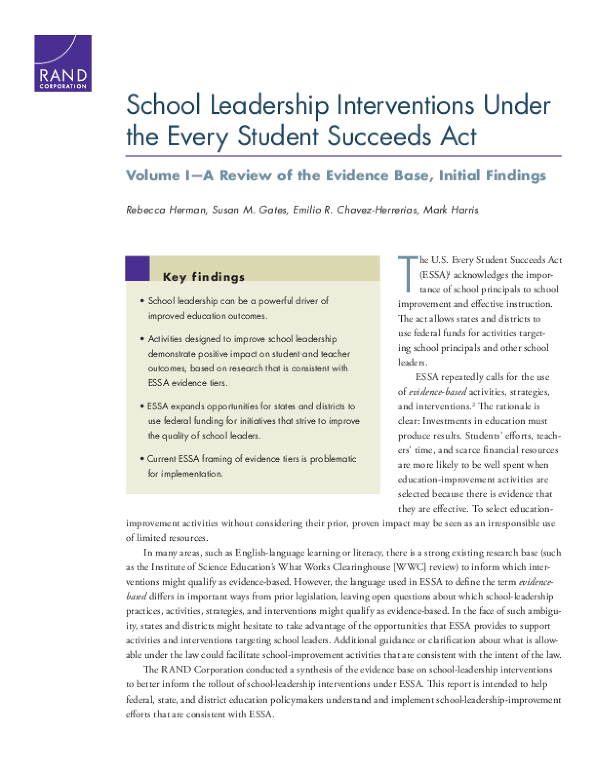 School Leadership Interventions Under the Every Student Succeeds Act: Volume I - A Review of the Evidence Base, Initial Findings