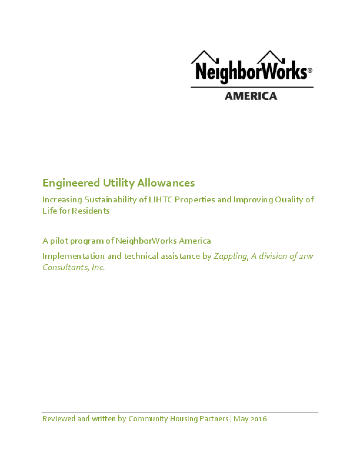 Engineered Utility Allowances: Increasing Sustainability of LIHTC Properties and Improving Quality of Life for Residents