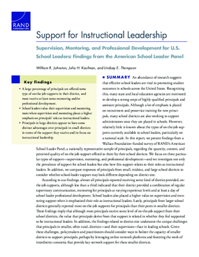 Support for Instructional Leadership: Supervision, Mentoring, and Professional Development for U.S. School Leaders - Findings from the American School Leader Panel