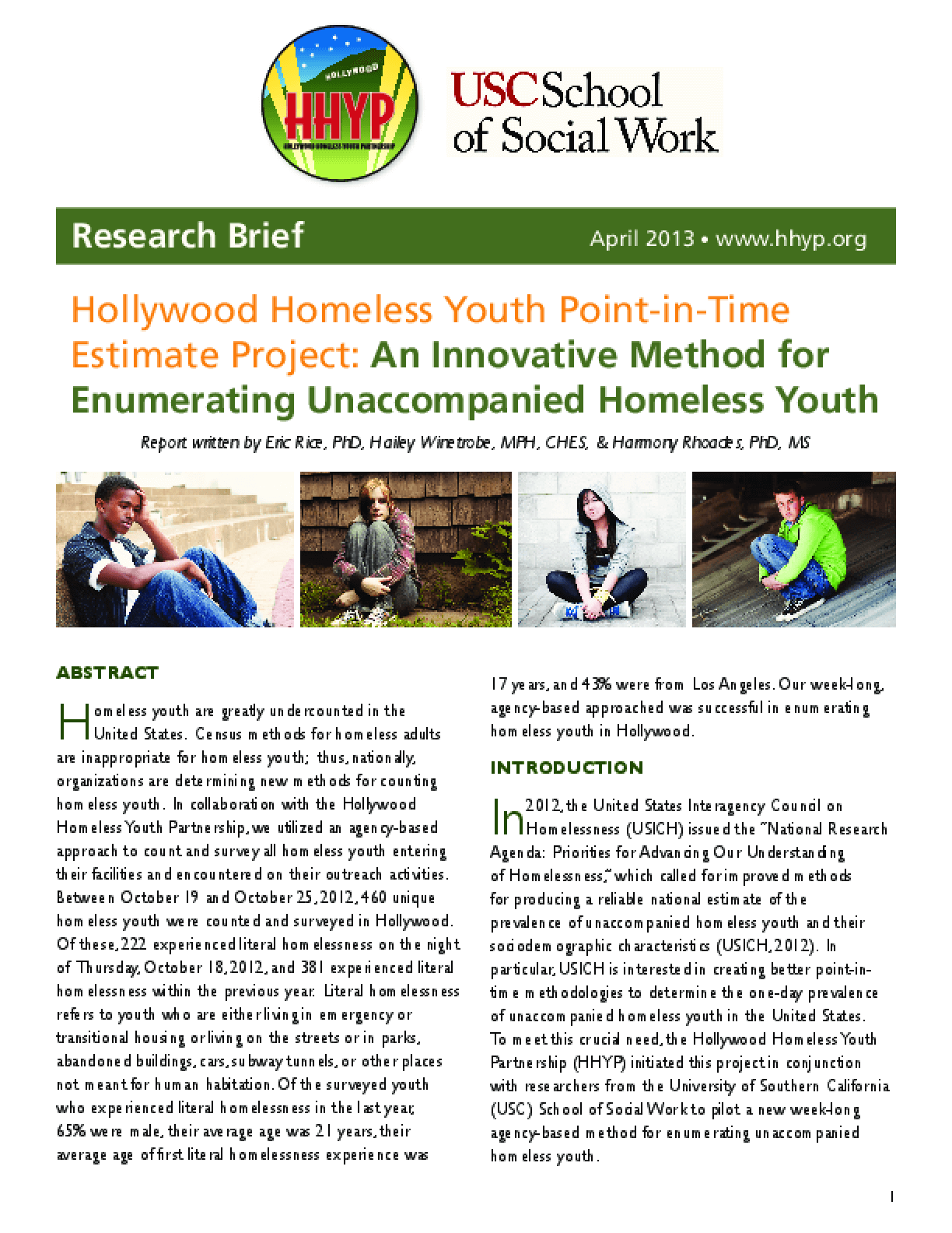 Hollywood Homeless Youth Point-in-Time  Estimate Project:  An Innovative Method for  Enumerating Unaccompanied Homeless Youth