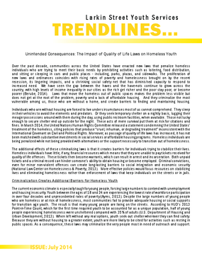Trendlines- Unintended Consequences: The Impact of Quality of Life Laws on Homeless Youth
