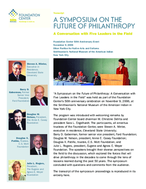 A Symposium on the Future of Philanthropy: A Conversation with Five Leaders in the Field