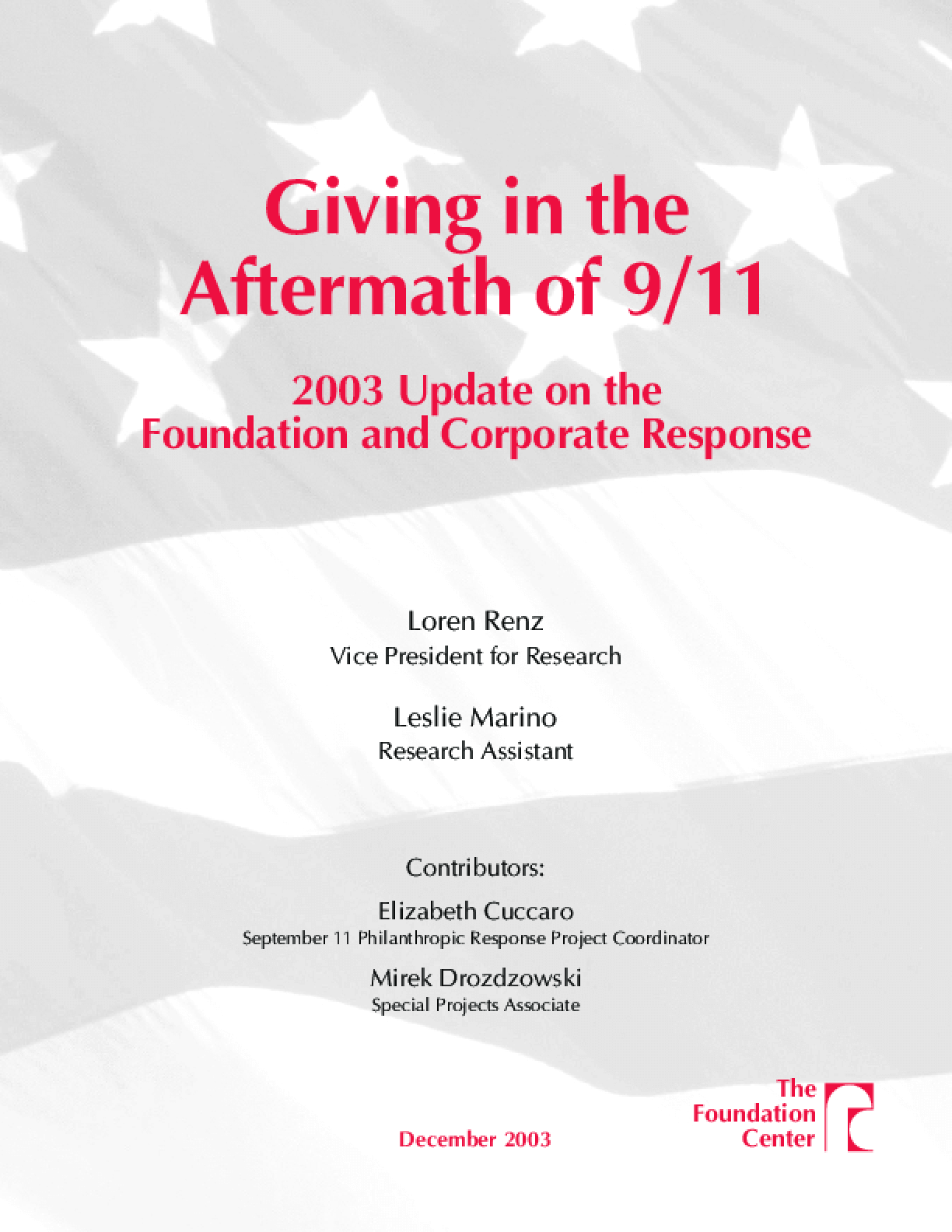 Giving in the Aftermath of 9/11: 2003 Update on the Foundation and Corporate Response