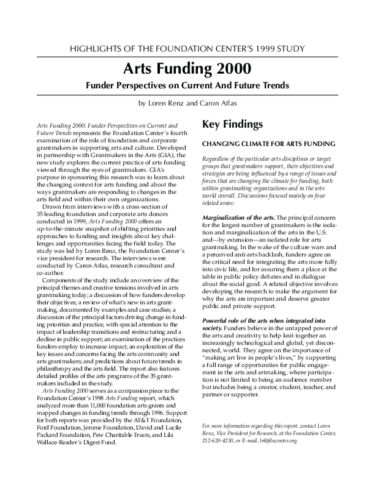 Highlights of the Foundation Center's 1999 Study: Arts Funding 2000 - Funder Perspectives on Current And Future Trends