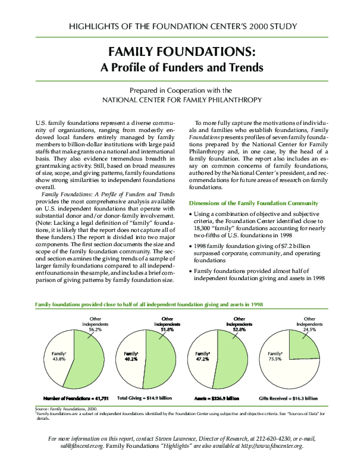 Highlights of the Foundation Center's 2000 Study - Family Foundations: A Profile of Funders and Trends
