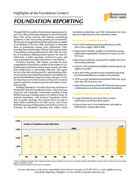 Foundations Today: Foundation Reporting , 2001 Edition (Highlights)