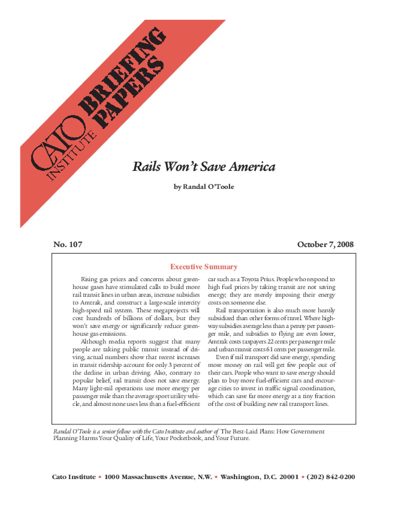 Rails Won't Save America