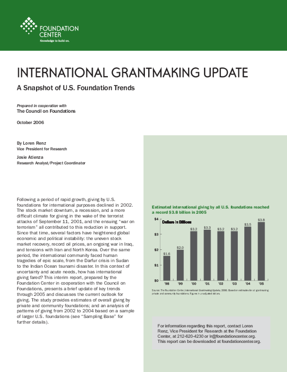 International Grantmaking Update: A Snapshot of U.S. Foundation Trends, 2006