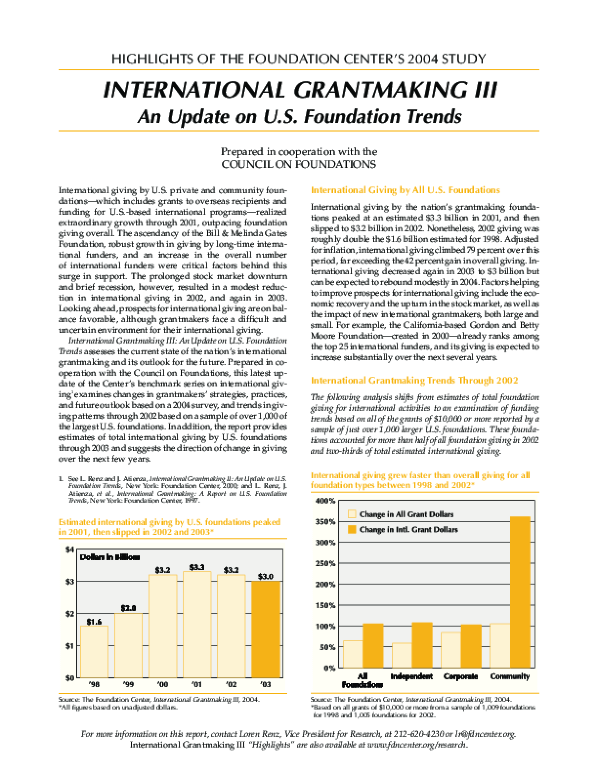 Highlights of the Foundation Center's 2004 Study: International Grantmaking III - An Update on U.S. Foundation Trends