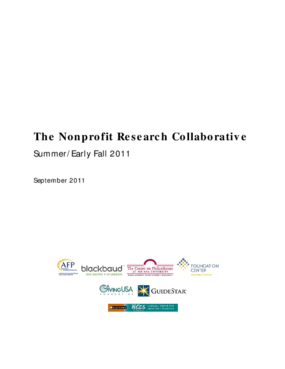 The Nonprofit Research Collaborative Summer/Early Fall 2011