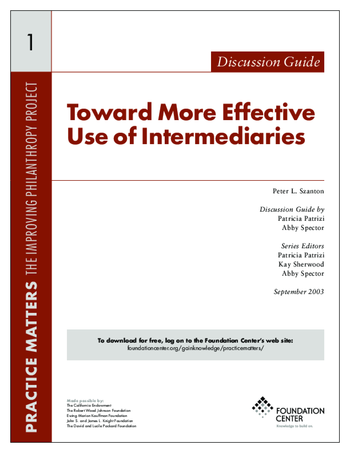 Toward More Effective Use of Intermediaries: Discussion Guide