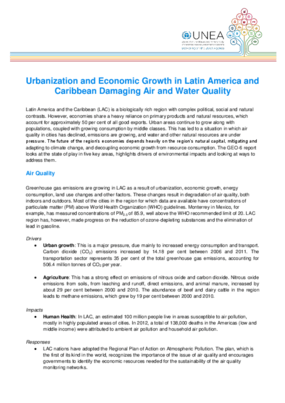 Urbanization and Economic Growth in Latin America and Caribbean Damaging Air and Water Quality