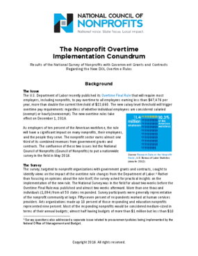 The Nonprofit Overtime Implementation Conundrum: Results of the National Survey of Nonprofits with Government Grants and Contracts Regarding the New DOL Overtime Rules