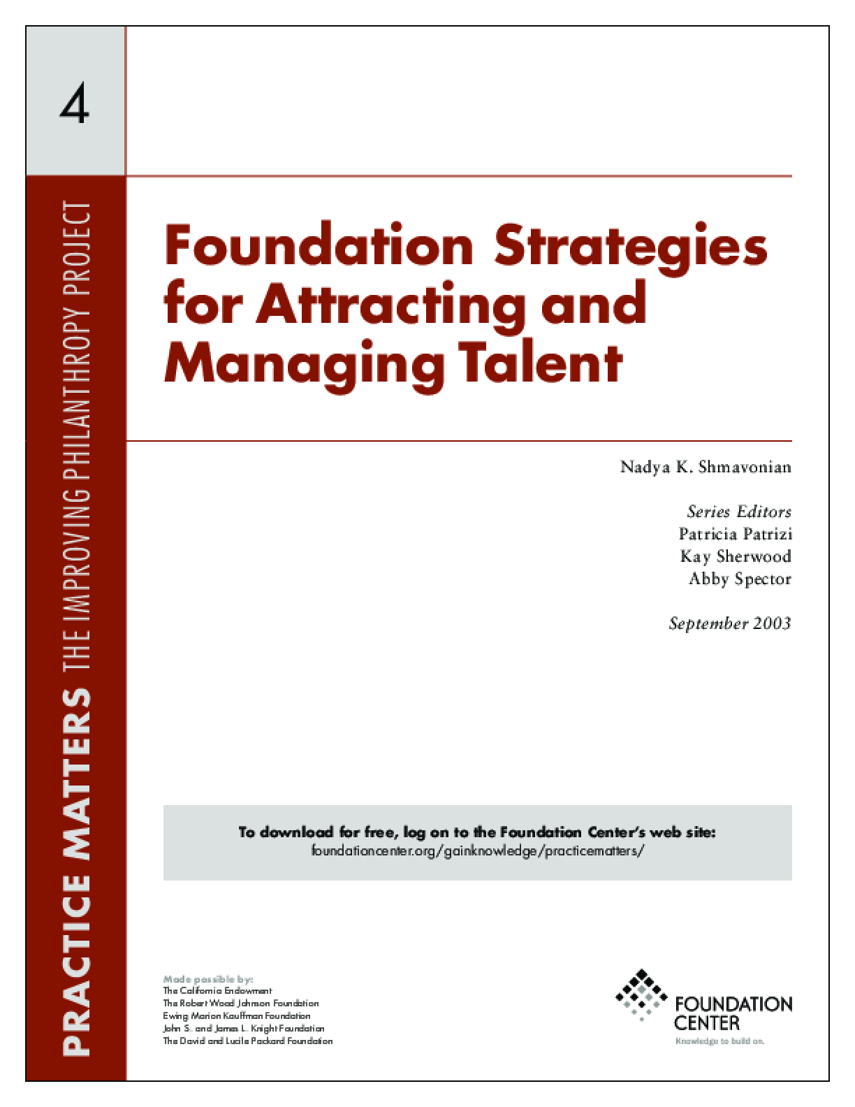 Foundation Strategies for Attracting and Managing Talent - Executive Summary