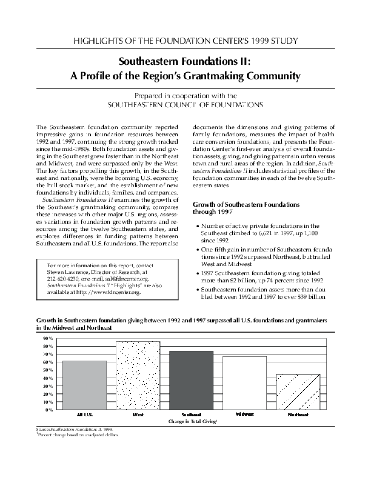 Highlights of the Foundation Center's 1999 Study: Southeastern Foundations II - A Profile of the Region's Grantmaking Community