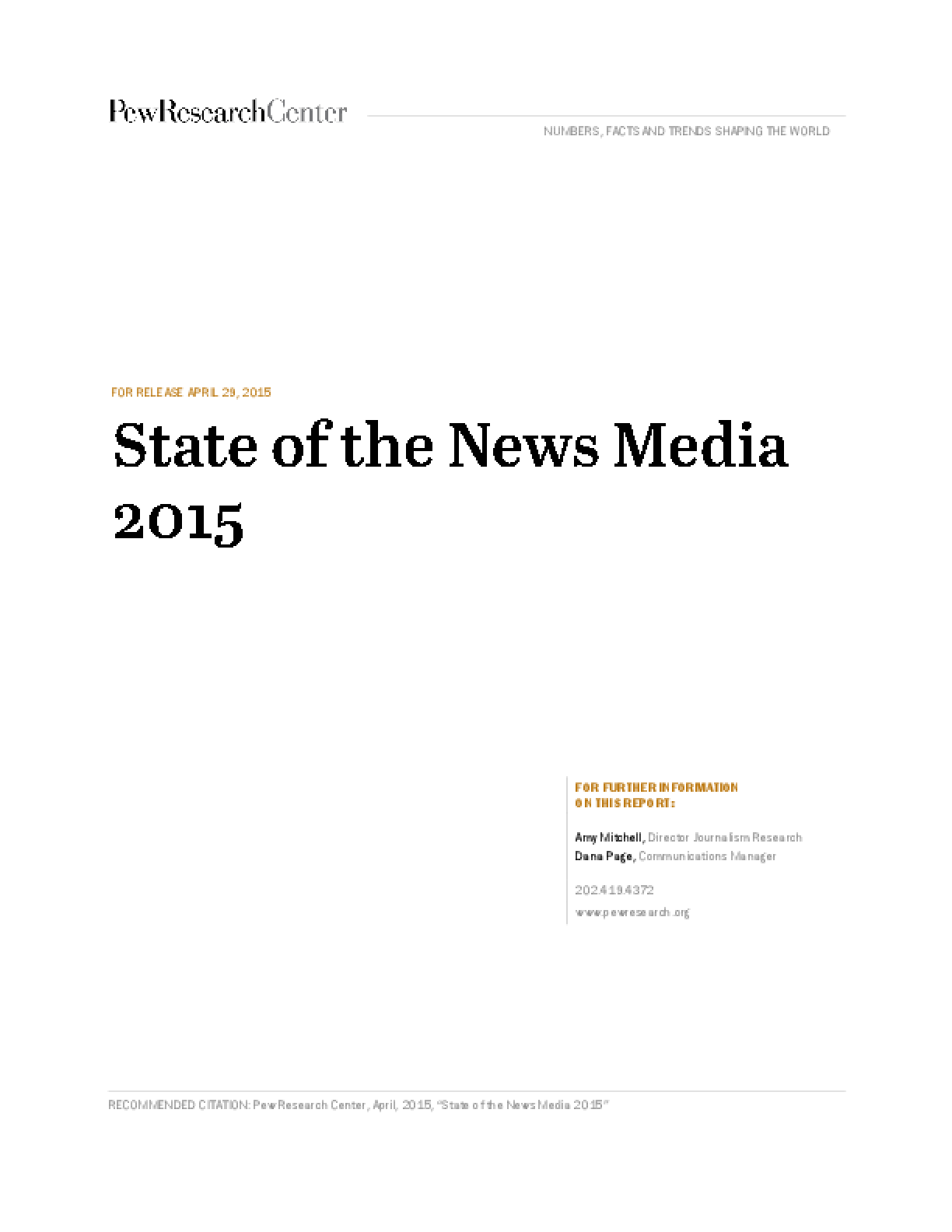State of the News Media 2016: Network News - Fact Sheet