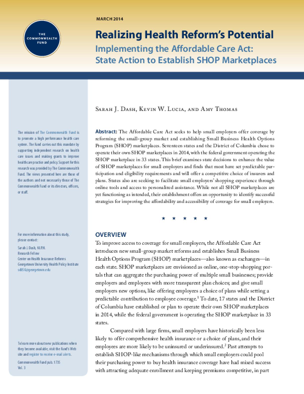 Implementing the Affordable Care Act: State Action to Establish SHOP Marketplaces