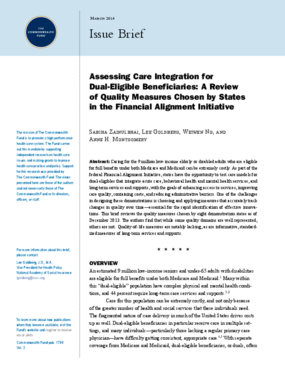 Assessing Care Integration for Dual-Eligible Beneficiaries: A Review of Quality Measures Chosen by States in the Financial Alignment Initiative