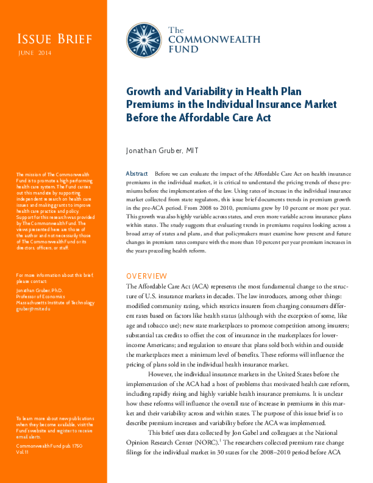 Growth and Variability in Health Plan Premiums in the Individual Insurance Market Before the Affordable Care Act