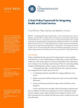 A State Policy Framework for Integrating Health and Social Services