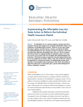 Implementing the Affordable Care Act: State Action to Reform the Individual Health Insurance Market