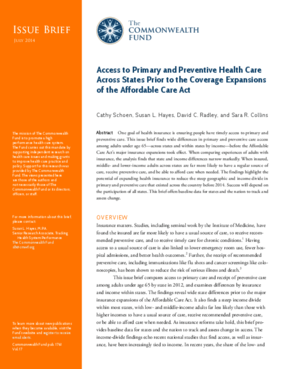 Access to Primary and Preventive Health Care Across States Prior to the Coverage Expansions of the Affordable Care Act