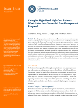 Caring for High-Need, High-Cost Patients: What Makes for a Successful Care Management Program?