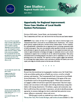Opportunity for Regional Improvement: Three Case Studies of Local Health System Performance