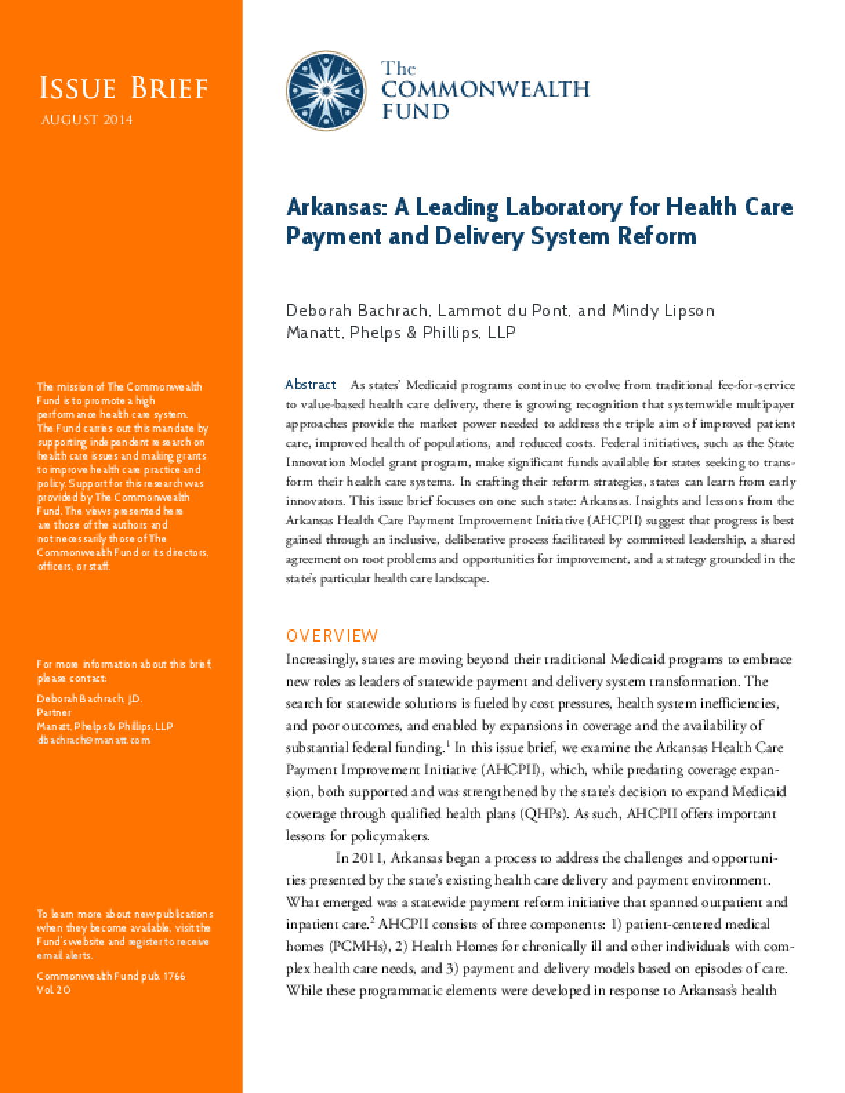 Arkansas: A Leading Laboratory for Health Care Payment and Delivery System Reform