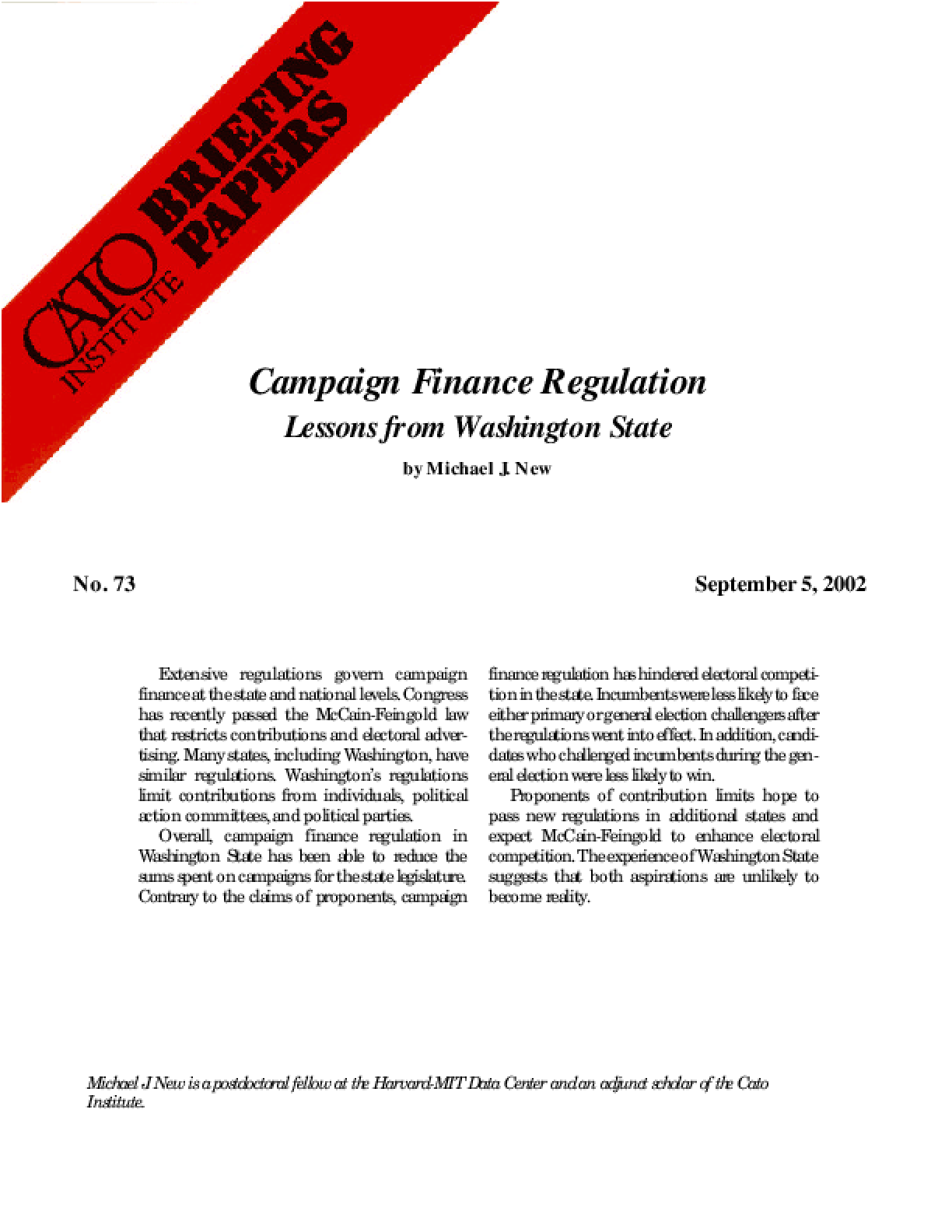 Campaign Finance Regulation: Lessons from Washington State