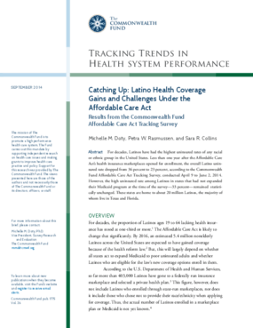 Catching Up: Latino Health Coverage and Gains Under the Affordable Care Act: Results from the Commonwealth Fund Affordable Care Act Tracking Survey