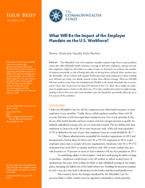 What Will Be the Impact of the Employer Mandate on the U.S. Workforce?