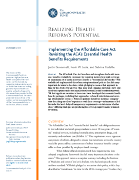 Implementing the Affordable Care Act: Revisiting the ACA's Essential Health Benefits Requirements