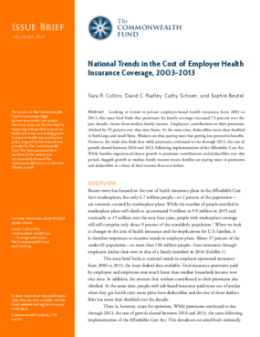 National Trends in the Cost of Employer Health Insurance Coverage, 2003-2013