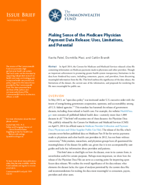 Making Sense of the Medicare Physician Payment Data Release: Uses, Limitations, and Potential