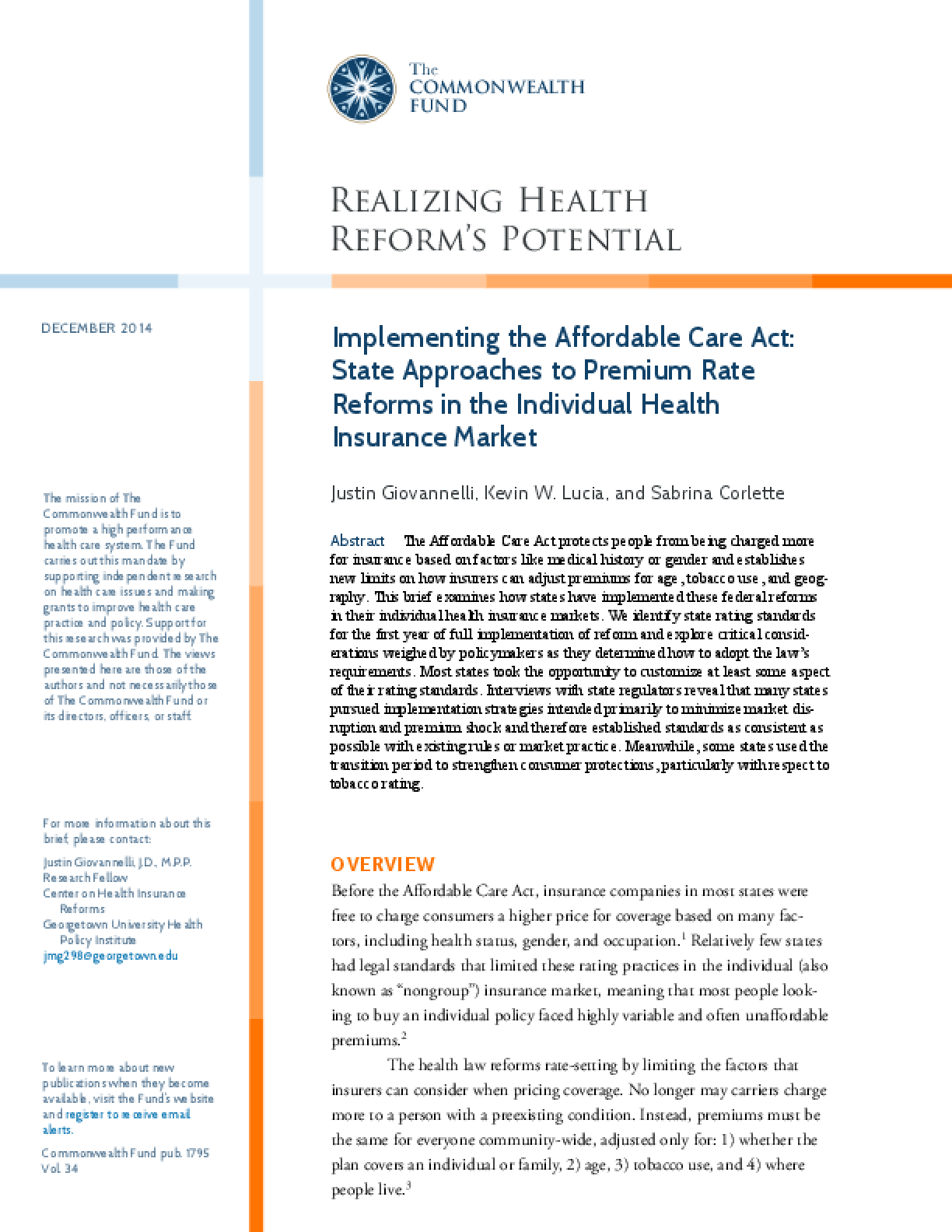 State Approaches to Premium Rate Reforms in the Individual Health Insurance Market