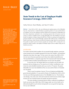 State Trends in the Cost of Employer Health Insurance Coverage, 2003-2013