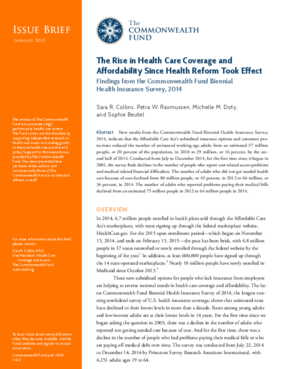 The Rise in Health Care Coverage and Affordability Since Health Reform Took Effect (Biennial 2014)