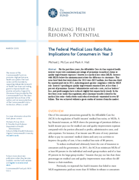The Federal Medical Loss Ratio Rule: Implications for Consumers in Year 3