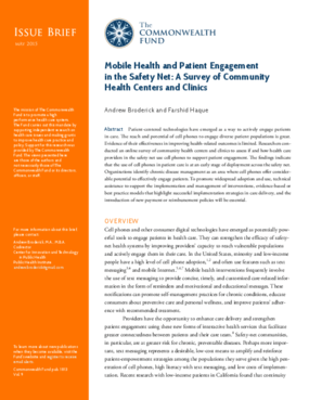 Mobile Health and Patient Engagement in the Safety Net: A Survey of Community Health Centers and Clinics